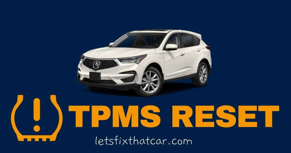 HOW TO RESET and relearn the Acura RDX Tire Pressure monitoring system.