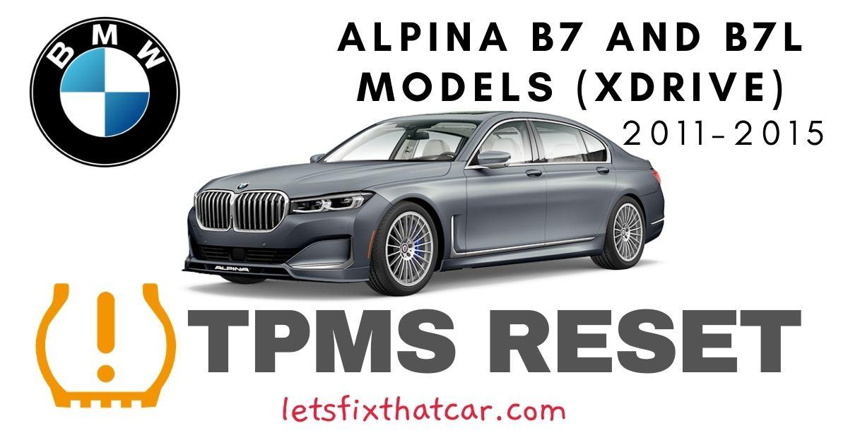 TPMS Reset-BMW Alpina B7 and B7L Models (xDrive) 2011-2015 Tire Pressure Sensor