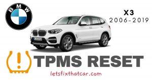 TPMS Reset BMW X3 2006-2019 Tire Pressure Sensor