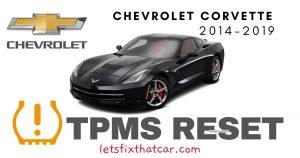TPMS Reset-Chevrolet Corvette 2014 – 2019 Tire Pressure Sensor