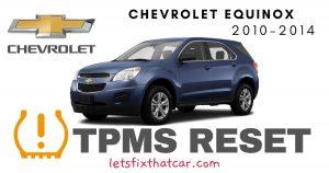 TPMS Reset-Chevrolet Equinox 2010 – 2014 Tire Pressure Sensor