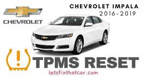 TPMS Reset-Chevrolet Impala 2016– 2019 Tire Pressure Sensor