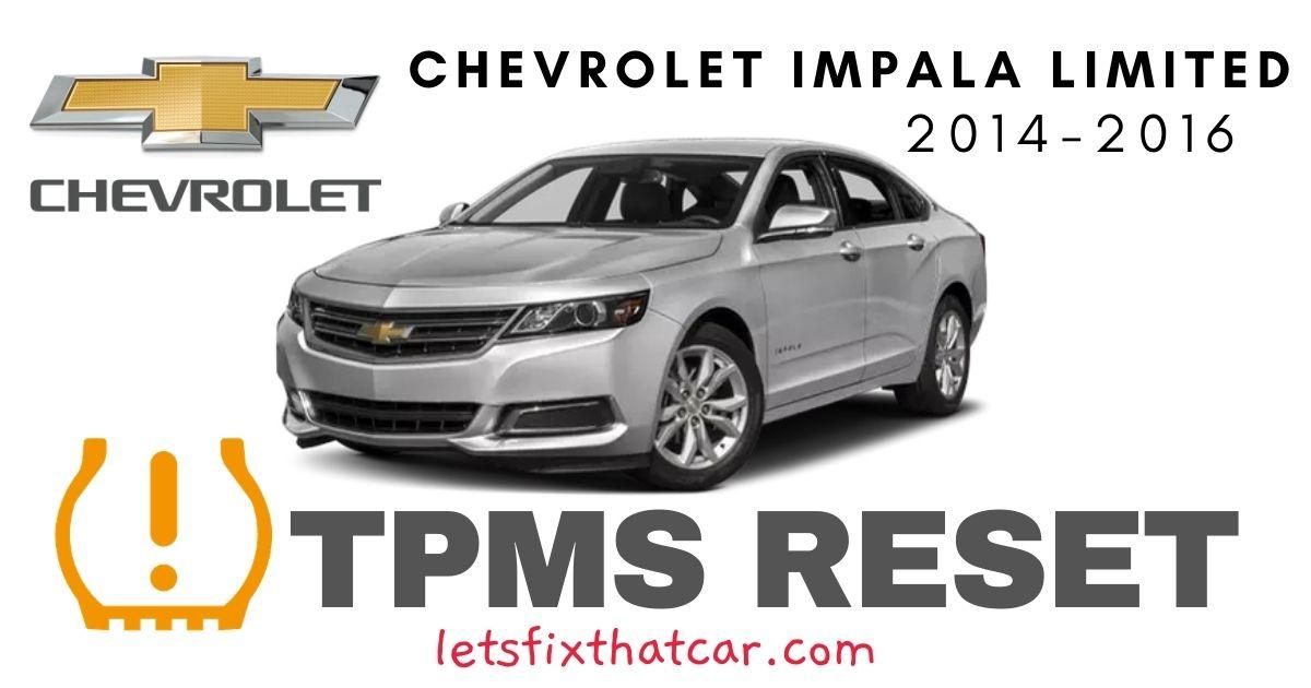 TPMS Reset-Chevrolet Impala Limited 2014 – 2016 Tire Pressure Sensor