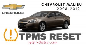 TPMS Reset-Chevrolet Malibu 2008 – 2012 Tire Pressure Sensor