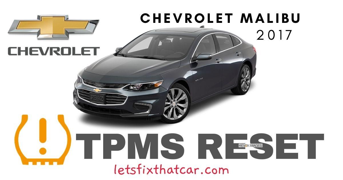 TPMS Reset-Chevrolet Malibu 2017 Tire Pressure Sensor