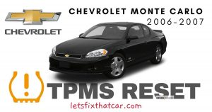 TPMS Reset-Chevrolet Monte Carlo 2006-2007 Tire Pressure Sensor