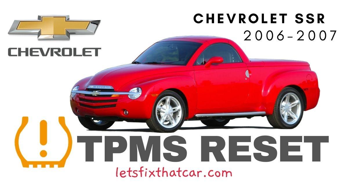 TPMS Reset-Chevrolet SSR 2006-2007 Tire Pressure Sensor