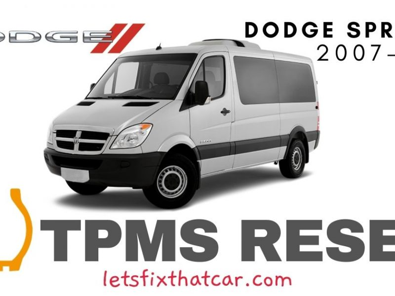 TPMS Reset-Dodge Sprinter 2007-2013 Tire Pressure Sensor