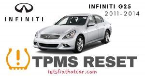 TPMS Reset-Infiniti G25 2011-2014 Tire Pressure Sensor