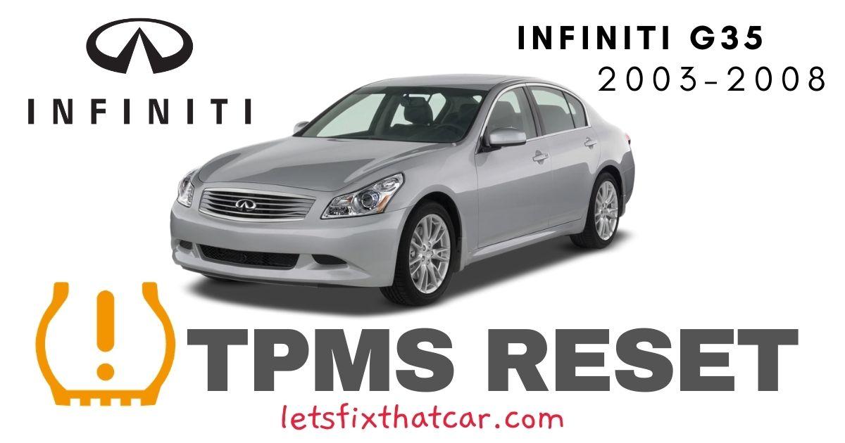 TPMS Reset-Infiniti G35 2003-2008 Tire Pressure Sensor