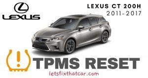 TPMS Reset Lexus CT 200h 2011-2017 Tire Pressure Sensor