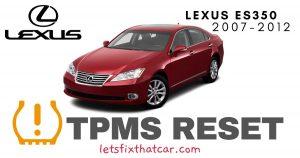 TPMS Reset-Lexus ES350 2007-2012 Tire Pressure Sensor