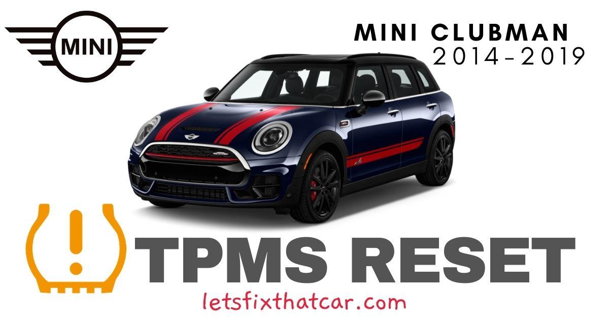TPMS Reset-Mini Clubman 2014-2019 Tire Pressure Sensor