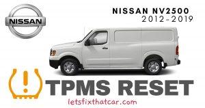 TPMS Reset-Nissan NV2500 2012-2019 Tire Pressure Sensor