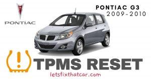 TPMS Reset-Pontiac G3 2009-2010 Tire Pressure Sensor