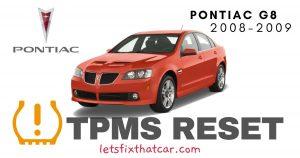 TPMS Reset-Pontiac G8 2008-2009 Tire Pressure Sensor