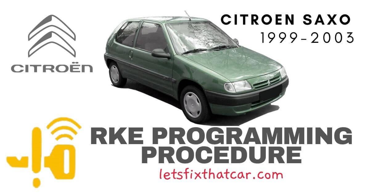 KeyFob RKE Programming Procedure-Citreon Saxo 1999-2003