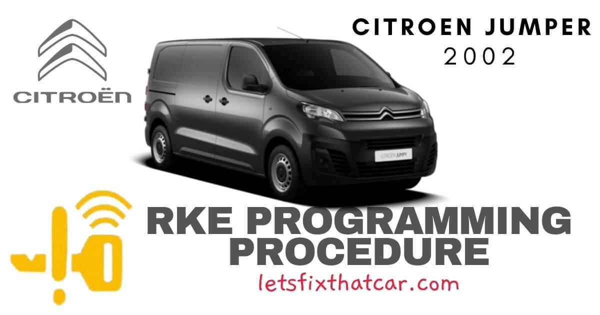 KeyFob RKE Programming Procedure-Citroen Jumper 2002