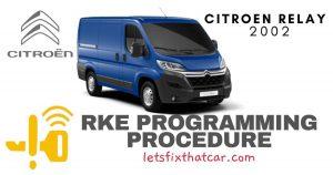 KeyFob RKE Programming Procedure-Citroen Relay 2002