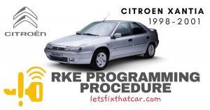 KeyFob RKE Programming Procedure-Citroen Xantia 1998-2001