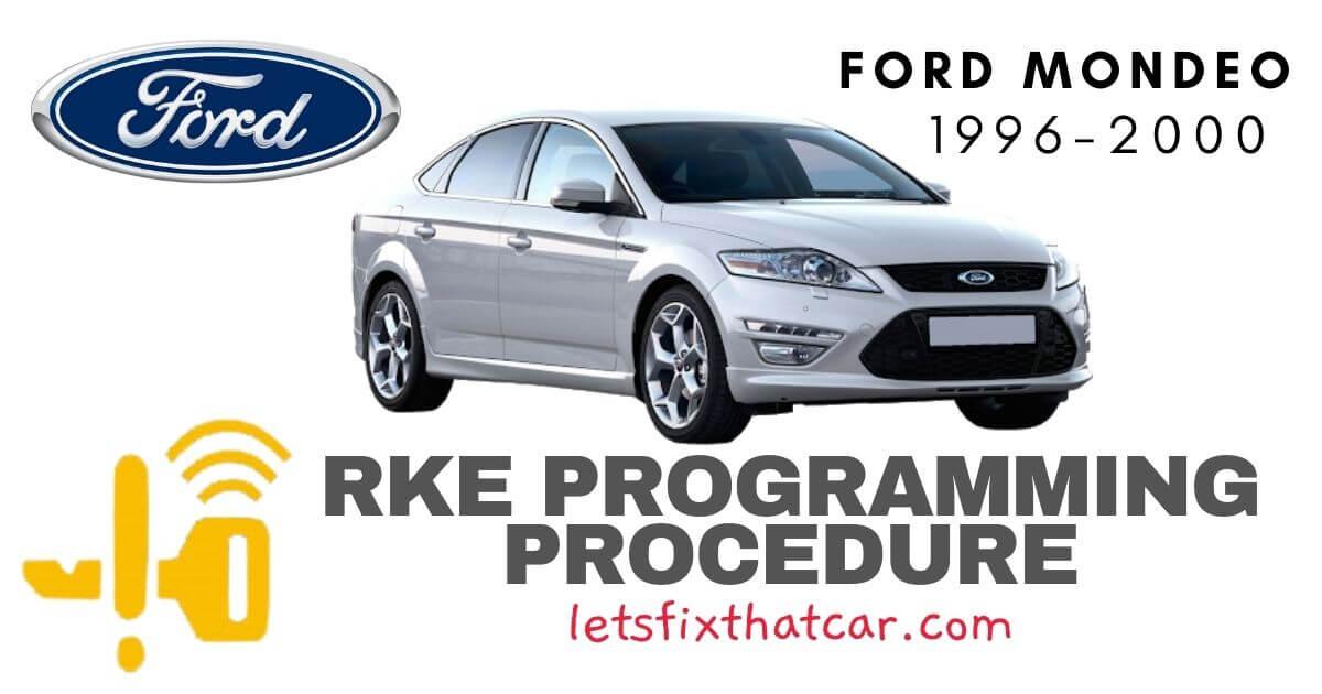 KeyFob RKE Programming Procedure: Ford Mondeo 1996-2000
