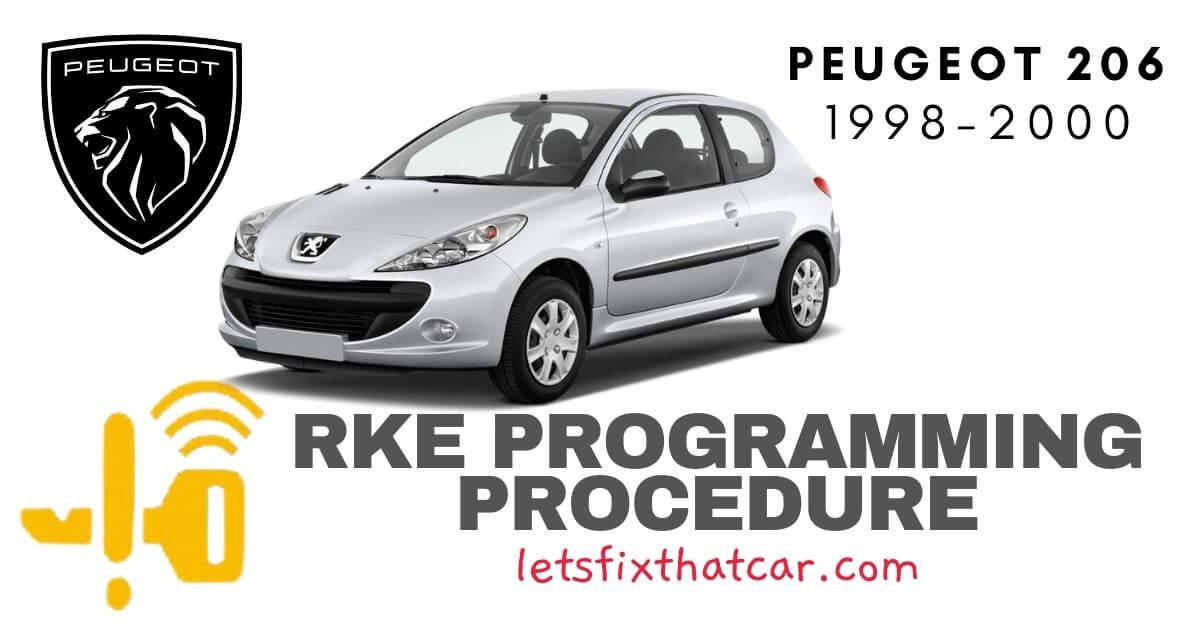 KeyFob RKE Programming Procedure: Peugeot 206 1998-2000