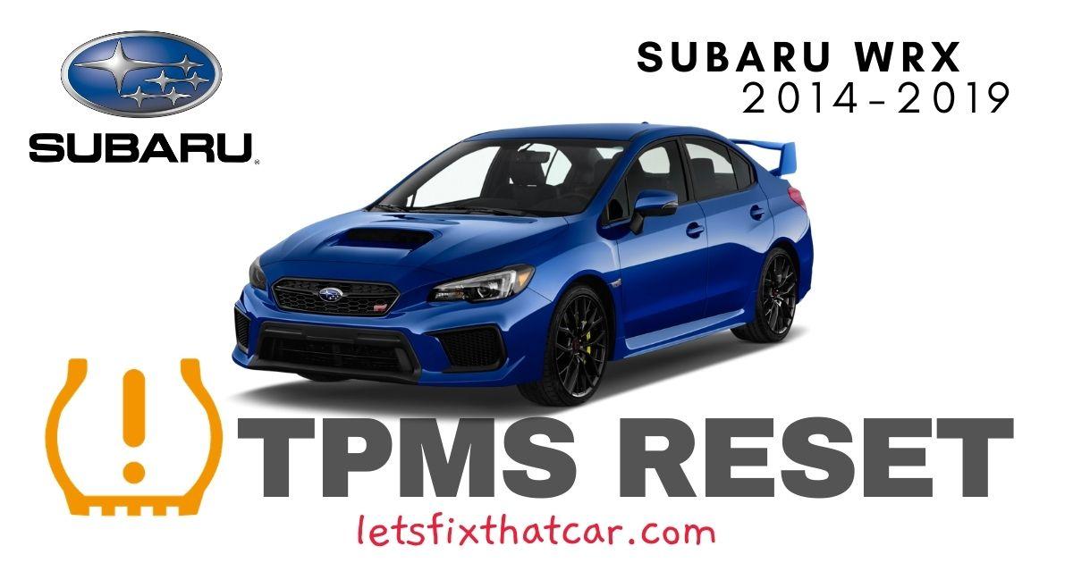 TPMS Reset-Subaru WRX 2014-2019 Tire Pressure Sensor