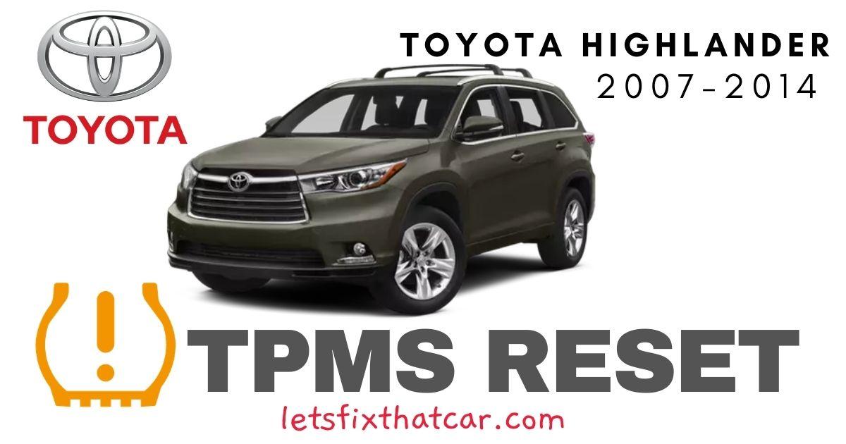 TPMS Reset-Toyota Highlander 2007-2014 Tire Pressure Sensor