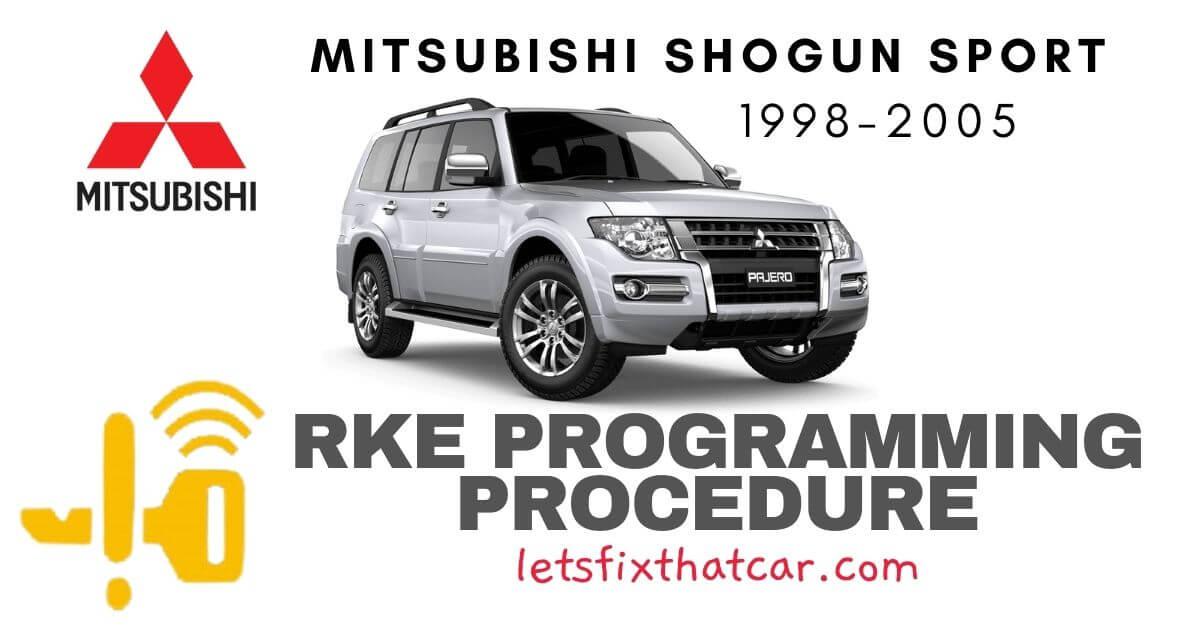 KeyFob RKE Programming Procedure: Mitsubishi Shogun Sport 1998-2005