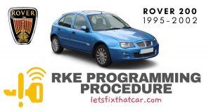 KeyFob RKE Programming Procedure-Rover 200 Series 1995-2002
