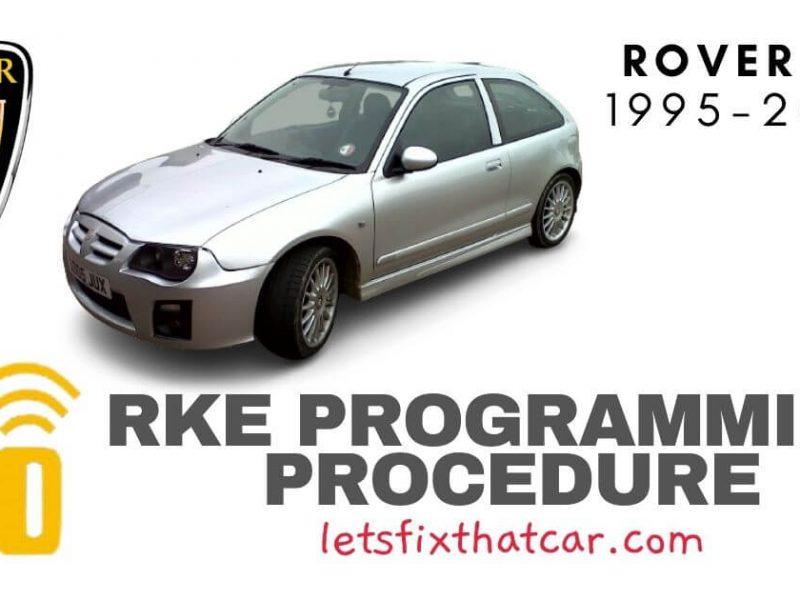 KeyFob RKE Programming Procedure-Rover ZR 1995-2006
