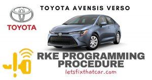 KeyFob RKE Programming Procedure Toyota Avensis Verso