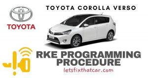 KeyFob RKE Programming Procedure-Toyota Corolla Verso