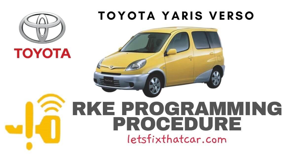 KeyFob RKE Programming Procedure-Toyota Yaris Verso